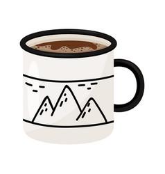 mug of hot coffee or tea tasty beverage metal or vector image