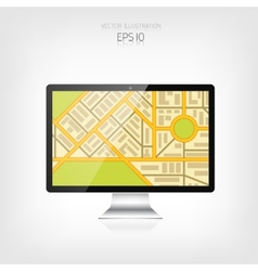 Navigation background with monitor and map vector image