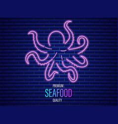 octopus neon icon fresh glowing symbol templates vector image