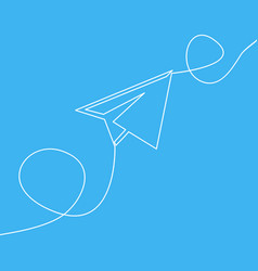 one line drawing flying paper airplane concept vector image