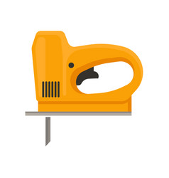 Orange electric jigsaw hand tool with fine sharp vector