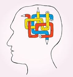 Pencil brain kopie vector