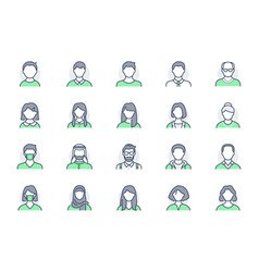 People avatar line icons vector