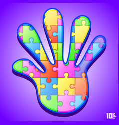 puzzle in hand vector image