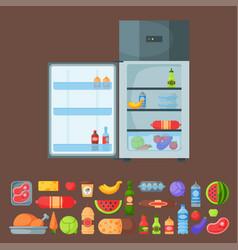 Refrigerator organic food kitchenware household vector