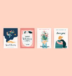 romantic set cute design vector image