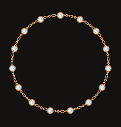Round frame made with golden chain and gemstones vector