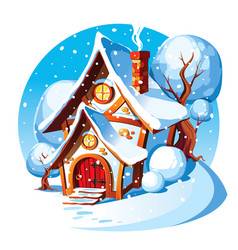 Rustic stone house winter landscape vector