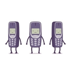 Sad retro cell phone vector