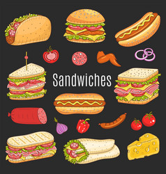 sandwich set sketch vector image