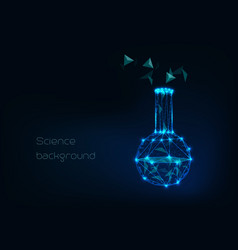 scientific background with low poly wireframe vector image
