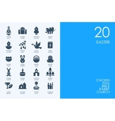 Set blue hamster library easter icons vector