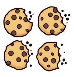 Set chocolate chip bitten cookies vector