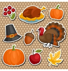 set happy thanksgiving holiday sticker object vector image