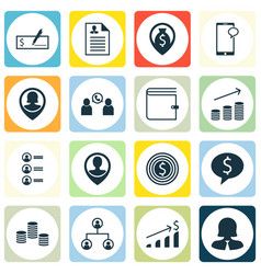 set of 16 management icons includes money vector image