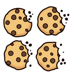 Set of chocolate chip bitten cookies vector