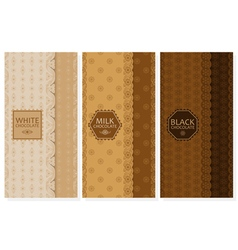 Set of chocolate packaging in trendy linear style vector