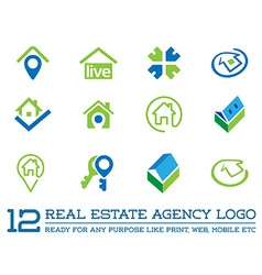 set of template logo for real estate agency vector image