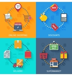 Shopping concept icons set vector image