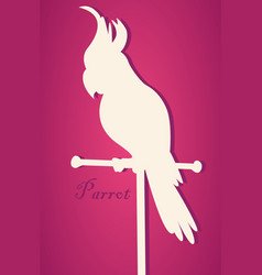 Silhouette of bird parrot on perch pape vector