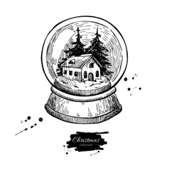 Snow globe with house and fir tree inside vector