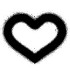 sprayed graffiti heart in black over white vector image