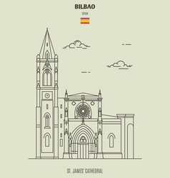 st james cathedral in bilbao spain vector image