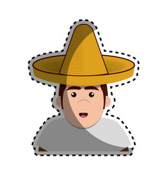 sticker half body man mexican with hat vector image
