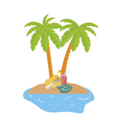 Summer coastline scene with palms and straw hat vector