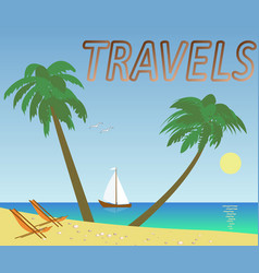 Summer travel with palms on the beach vector