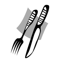 table setting knife and fork vector image