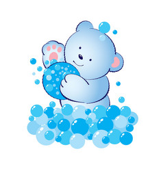 teddy bears is washing and bubble vector image