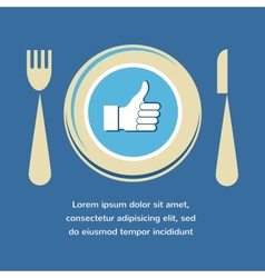 Thumbs Up icon with plate fork and knife like food vector