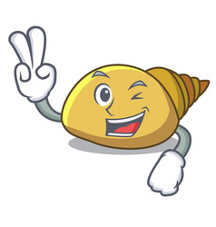 Two finger mollusk shell character cartoon vector