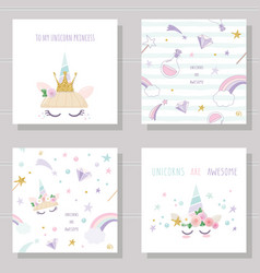 Unicorn cute cards and seamless patterns set vector