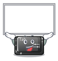 Up board tab button installed on computer vector