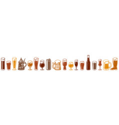 various types beer glasses and mugs seamless vector image