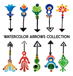Watercolor arrows collection vector