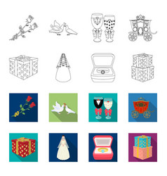 Wedding and attributes outlineflet icons in set vector