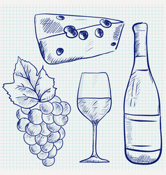 wine set sketch wine bottle glass grapes vector image