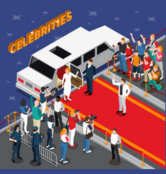 celebrities on red carpet isometric composition vector image