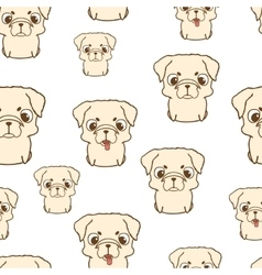 Seamless pattern with pug puppies Hand drawn vector image