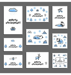 Set of merry christmas greeting cards with cute vector image