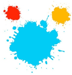 Splashes - Blots - Stains Blue Red and Ora vector image