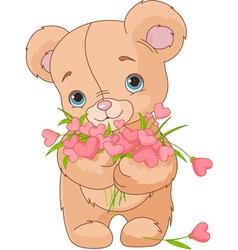 Teddy bear giving hearts bouquet vector image