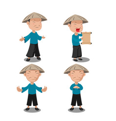 chinese people character pose set vector image vector image