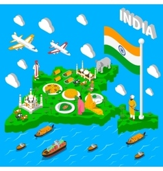 India Map Touristic Isometric Poster vector image