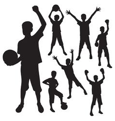 silhouettes of the boy vector image