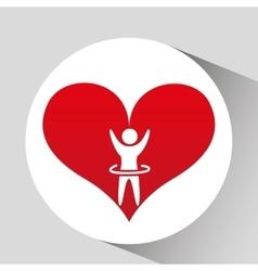 Athlete silhouette heart beat design graphic vector