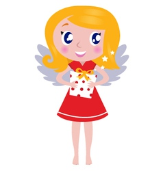 christmas cartoon angel girl with gift vector image vector image
